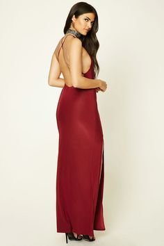 Forever 21 Contemporary - A knit sleeveless maxi dress featuring a round halter neckline, high-slit front, and crisscross adjustable straps in back.