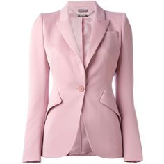 Alexander McQueen Fitted Blazer (47 510 UAH) ❤ liked on Polyvore featuring outerwear, jackets, blazers, alexander mcqueen blazer, pink blazer, fitted blazer, fitted jacket and long sleeve jacket