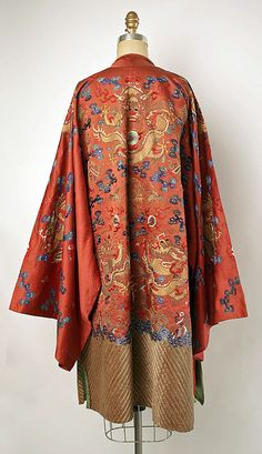 19th century Chinese Dragon Robe // Medium: silk, metal // Dimensions: Length: 43 in. (109.2 cm) // Credit Line: Gift of Mrs. Harrison Williams, Lady Mendl, and Mrs. Ector Munn, 1946 // Accession Number: C.I.46.40.2