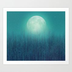 The Moon Shines Bright In Such A Night (Birch Moon) Art Print by Soaring Anchor Designs