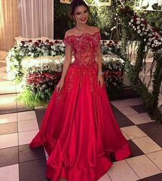 A-Line Off the Shoulder Sweep Train Red Satin Prom Dress with Beading Lace