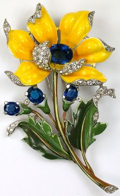 Trifari 'Alfred Philippe' Large Pave and Enamel Yellow Peony Flower Pin Clip
