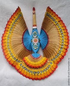 Купить Щепная расписная Птица Счастья - оригинальный подарок, оберег на удачу, птица на ветке