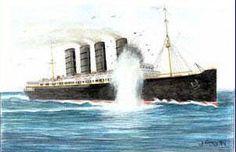 Torpedo strikes Lusitania