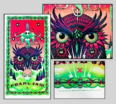 INSIDE THE ROCK POSTER FRAME BLOG: Tonight's Pearl Jam poster from Manchester by Tara McPherson and Jeff Soto