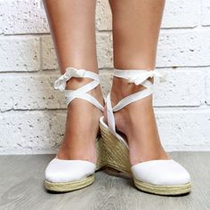 Ladies White Espadrille Wedge Heeled Sandals White by ForeverSoles