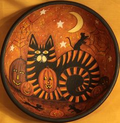 Folk Art Halloween Wood Bowl - Hand painted MADE TO ORDER - Black and Orange Tiger Cat Playing with Mice pumpkins, Moon Start by RavensBendFolkArt on Etsy