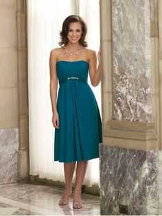 Crepe Back Satin Strapless SLightly Curved Neckline Crystal Accent Ruched Bodice A-line Bridesmaids Dress