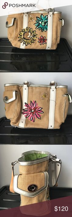 Coach Straw Burlap Bumble Bee Tote Coach Straw Burlap Bumbler Bee Flower   Tote with silver leather piping and clean white straps. Used a couple of times, minimal to zero wear. Bag crinkled from storage.  Clean interior and exterior. Coach Bags Totes