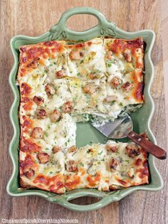 "Artichoke Chicken and Spinach Lasagna | Cinnamon Spice & Everything Nice - it has ""a creamy Parmesan sauce that takes the place of tomato sauce""...with chicken, baby spinach, and artichokes, healthy and delicious"