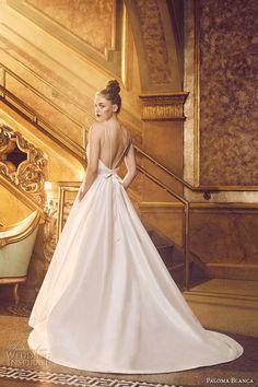 paloma blanca fall 2016 bridal sleeveless round neckline simple clean bodice elegant romantic a  line wedding dress with pockets low back chapel train (4719) bv