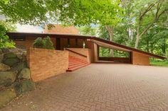 The exterior of a Frank Lloyd Wright-designed house in Minnesota.