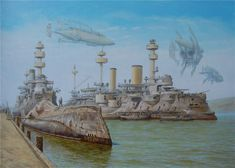 """cloggo: """" STEAMPUNK, Victorian battleships are naturally Steampunk. Voitv has made them even more Steampunky, just bristling with guns From HERE """""""