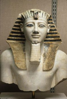 Upper part of a statue of Thutmose III  ca. 1479 – 1425 B.C  Indurated limestone (marble)