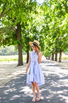 9c318e552e7f Napa Trip  Fit and Flare Stripe Dress. Mia · Wine Tasting Outfits