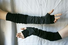 Extra Long Creased Black Dark Grey Arm Warmers Gloves Fingerless Upcycled Clothing Funky Wrapped Wrists Cuffs Eco Style Woman's Clothing
