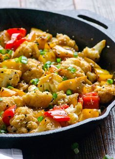 Sesame cauliflower and red pepper. I could see adding quinoa to this for a complete vegetarian meal.