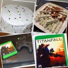 Xbox cake, chocolate covered pretzels
