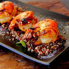I love this Mango chili-glazed grilled Kauai prawn dish - its simplicity, depth and complexity of flavors, and true feel of the Kauai coastline cuisine. Fish Recipes, Seafood Recipes, Salad Recipes, Cooking Recipes, Healthy Recipes, Seafood Meals, Tapas, I Love Food, Good Food
