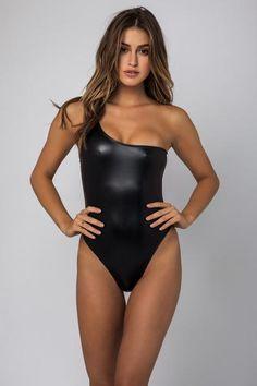 eb688e83084d8 Kai Lani SS17 Metallic Black One Shoulder One Piece Swimsuits, Bikinis,  Swimwear, Beachwear
