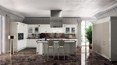 White Italian Kitchen And Marble Floor Design Id494   Modern Italian Style  Kitchen Designs   Kitchen Designs   Interior Design