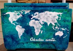 OMGGGG Loved painting this cooler with a travel theme! World map, adventure awaits. I used a sponge to create the watercolor effect Sorority Paddles, Sorority Crafts, Sorority Life, Sorority Canvas, Sorority Recruitment, Fraternity Coolers, Frat Coolers, Cooler Painting, Love Painting