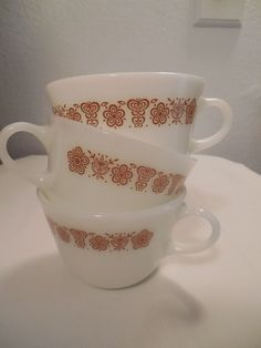 3 Vintage Pyrex Corning Butterfly Gold Cups Retro Coffee Tea 1970s