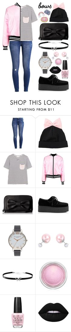 """""""True Story Bow"""" by meaganmuffins ❤ liked on Polyvore featuring 7 For All Mankind, Federica Moretti, Chinti and Parker, Boohoo, Lulu Guinness, Olivia Burton, ADORNIA, Giani Bernini, MAC Cosmetics and OPI"""