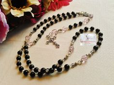 Rosary/Prayer Beads/Black & Pink/Crucifix Silver/Christ Centerpiece/Catholic /Handmade/Traditional    LR#0021 by Justmyhands1Rosaries on Etsy