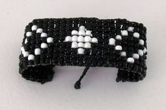 Handmade bracelet in black and white by ManinaIrvine on Etsy, Handmade Bracelets, Handmade Jewelry, All Things, Buy And Sell, Black And White, Stuff To Buy, Etsy, Black White, Black N White