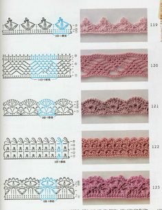 ISSUU - Crochet technique and pattern NV 70142 2012 de Crowe Berry dentelle 1 Plus ru / Фото - Any of these patterns would be pretty for jewelry! Crochet Border Patterns, Crochet Stitches Chart, Crochet Blanket Edging, Crochet Lace Edging, Crochet Diagram, Filet Crochet, Irish Crochet, Crochet Doilies, Easy Crochet