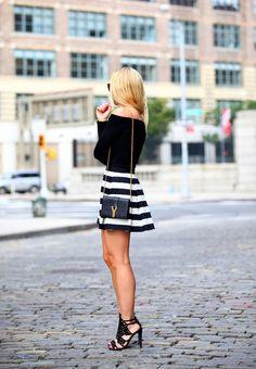 black long sleeve, striped skirt