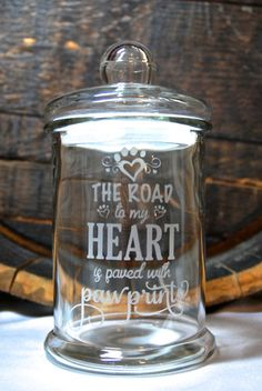 Glass Etched Dog Treat Jar, Large, The Road to My Heart is Paved...., Cat Treat Jar, Sandblasted Glass, Custom Glass Etching, Etched Glass