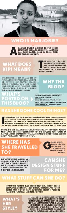 The Kipi Blog: ABOUT THE BLOG & MARJORIE great about me page with fantastic design!