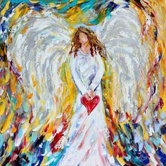Angel of My Heart 24 x 24 Gallery Quality Giclee by Karensfineart, $185.00