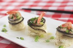 Cà tím cuộn tôm thịt sốt mỡ hành | Candy Can Cook