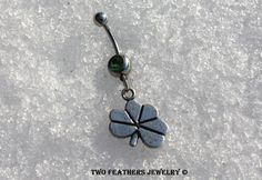 Silver Shamrock Belly Ring - St Patricks Day - Green Gem Belly Ring - Belly Button Ring - Body Jewelry - Dangle Belly Ring - Gift For Her