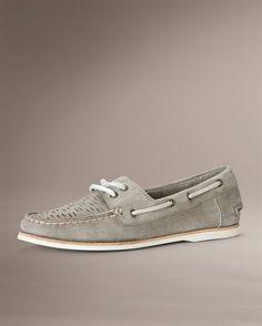 frye boat shoe in grey