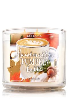"Marshmallow Pumpkin Latte - 3-Wick Candle - Bath & Body Works - The Perfect 3-Wick Candle! Made using the highest concentration of fragrance oils, an exclusive blend of vegetable wax and wicks that won't burn out, our candles melt consistently & evenly, radiating enough fragrance to fill an entire room. Topped with a flame-extinguishing lid! Burns approximately 25 - 45 hours and measures 4"" wide x 3 1/2"" tall."