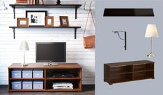 Like the shelving ideas for picture frames -- BORGSJÖ brown TV bench and EKBY AMUND/EKBY HÅLL wall shelves in black-brown