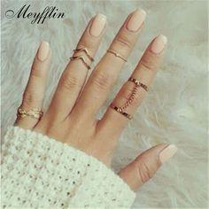 2017 Anillos de Dedo de La Manera para Las Mujeres Anel anillos Bagues Femme Oro/Plata Midi Knuckle Anillo Anéis Femininos Vendimia Conjuntos joyería