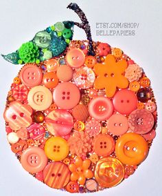 8x10 Orange Fruit Buttons and Swarovski by BellePapiers on Etsy