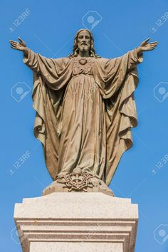 Photo about Outdoor Statue of Jesus with Open Arms. Image of outdoor, believing, outside - 45095461 Jesus Christ Statue, Life Of Jesus Christ, Pictures Of Jesus Christ, Catholic Theology, Catholic Art, Superman Artwork, Jesus Wallpaper, Religion Catolica, Outdoor Statues