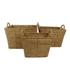 "Set of three straw baskets in tan.   Product: Small, medium and large basketConstruction Material: StrawColor: NaturalFeatures:  Functional designWill enhance any décor Dimensions: 13"" H x 18"" W x 14"" D (large)Cleaning and Care: Wipe with dry cloth"