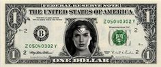 Wonder Woman Gal Gadot - Real Dollar Bill Cash Money Collectible Memorabilia Celebrity Novelty by Vincent-the-Artist, $7.77 USD