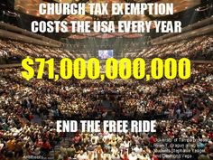 Mega churches use tax-free wealth to accomplish two things: gain/maintain political influence and generate Wall Street wealth. Their goal is simple: get people to tithe so that they can grow more powerful and exert influence over the government. How do th