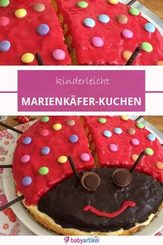 Paulines Kuchen zum Geburtstag Simple and tasty: the ladybug cake is easy to bake and perfect for Birthday Desserts, Party Desserts, Holiday Desserts, Birthday Cake, Peanut Butter Desserts, Pudding Desserts, Canned Blueberries, Scones Ingredients, Vegan Blueberry