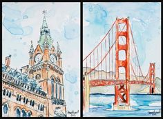 'Clock Tower' - 4 x 6  mixed media sketch.  'Golden Gate' - 5 x 7 mixed media sketch.