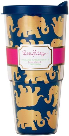 Lilly Pulitzer Tusk in Sun Navy Insulated Tumbler with Lid Elephant Love, Elephant Stuff, Elephant Gifts, Elephants Never Forget, Cute Cups, Tumblers With Lids, Insulated Tumblers, Up Girl, Mug Cup
