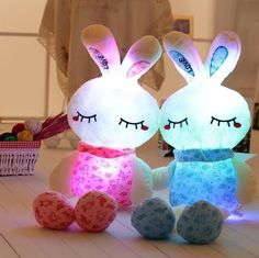 Adorable light up plush bunny! Imagine the look on the face of your little one when they see this adorable bunny! Makes a great cuddly night light. Stay cool and very battery friendly. These are very popular so please order by 3/10 to get them by Easter :-)    Features:  Stuffed & Plush,Educational,Soft,Model,DIY,Interactive      Item Type:  Animals      Warning:  N      Gender:  Unisex      Brand Name:  N      Age Range:  > 3 years old      Type:  Plush/Nano Doll      Filling:  PP Cotton…